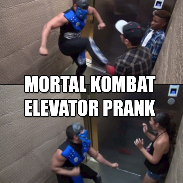 Viral Video- Mortal Kombat Elevator Prank1