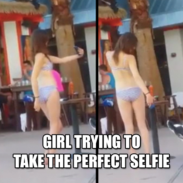 Woman Records Girl Trying To Take The Perfect Selfie1